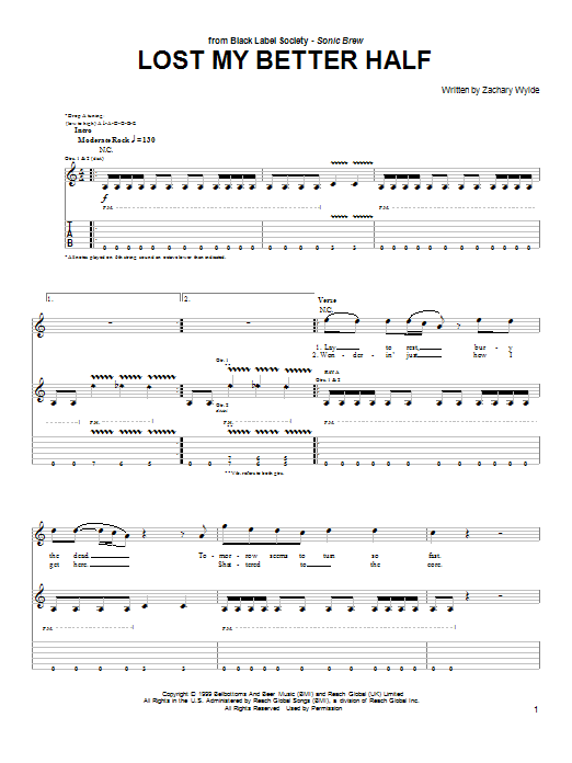 Tablature guitare Lost My Better Half de Black Label Society - Tablature Guitare