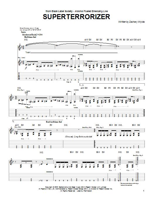 Tablature guitare Superterrorizer de Black Label Society - Tablature Guitare