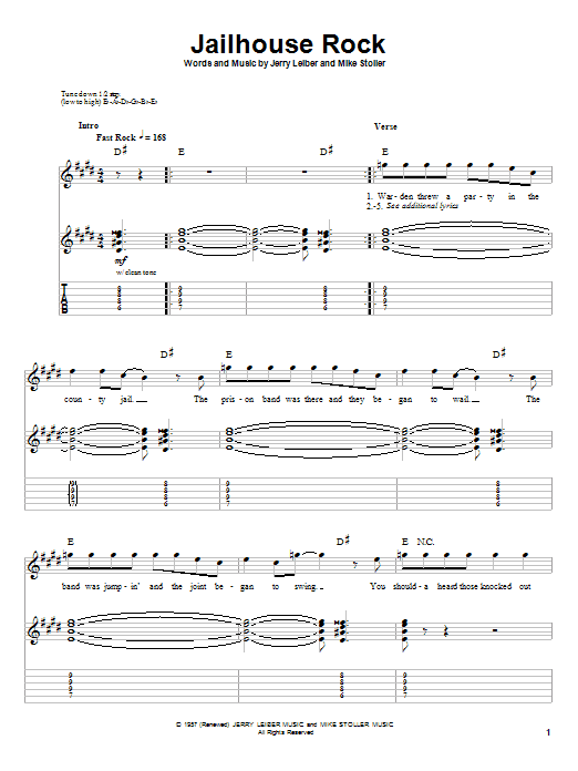 Jailhouse Rock (Guitar Tab (Single Guitar))