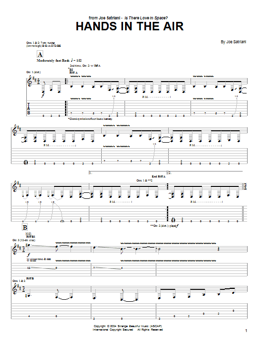 Tablature guitare Hands In The Air de Joe Satriani - Tablature Guitare