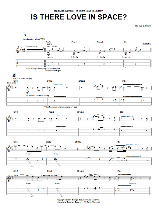 Tablature guitare Is There Love In Space? de Joe Satriani - Tablature Guitare