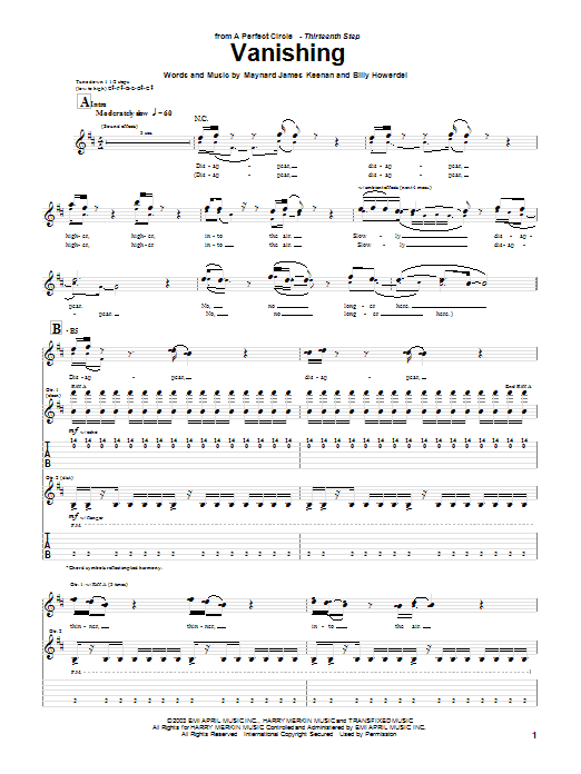 Tablature guitare Vanishing de A Perfect Circle - Tablature Guitare