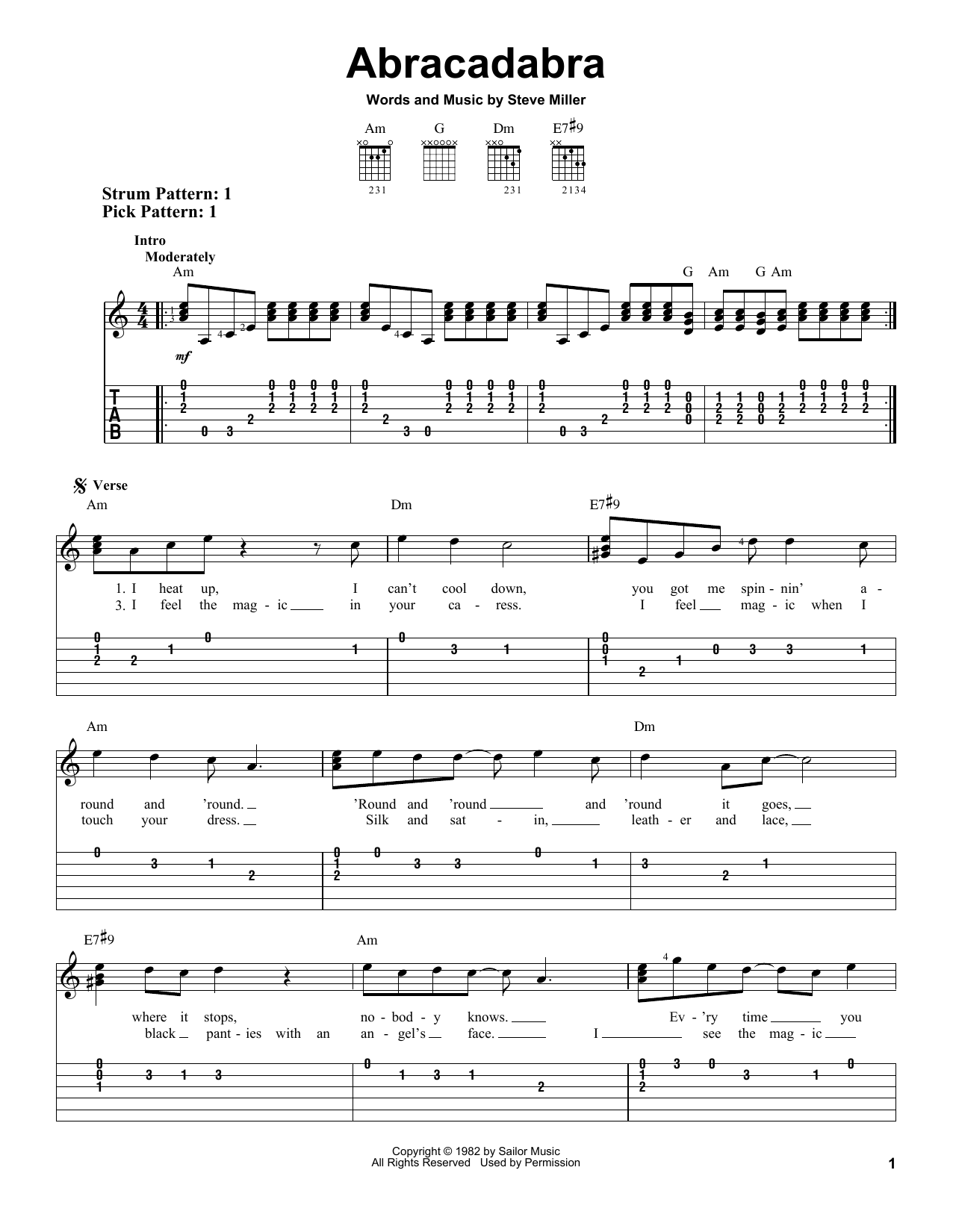 Tablature guitare Abracadabra de The Steve Miller Band - Tablature guitare facile