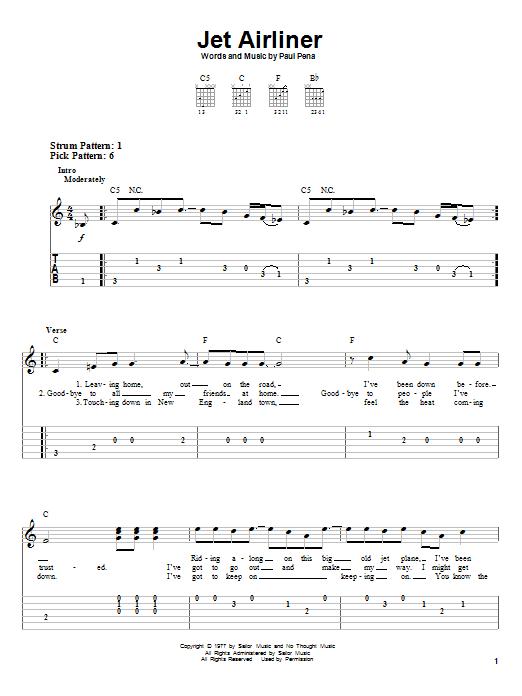 Jet Airliner By Steve Miller Band Easy Guitar Tab Guitar Instructor