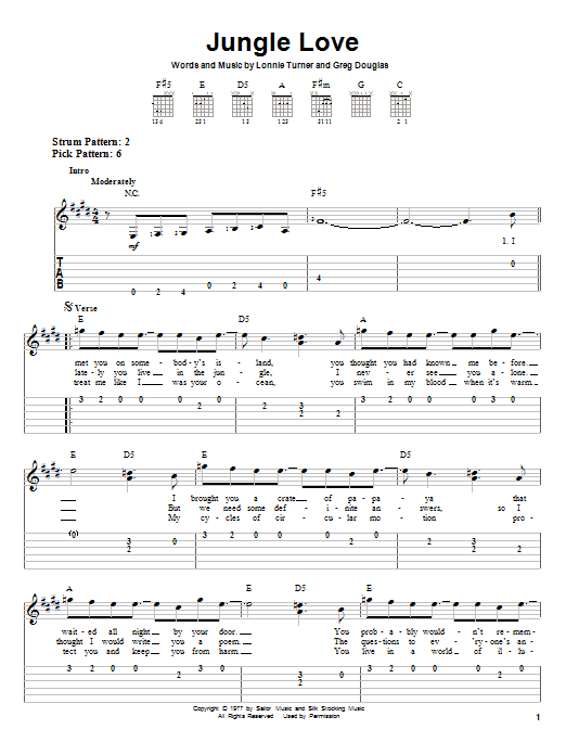 Jungle Love (Easy Guitar Tab)