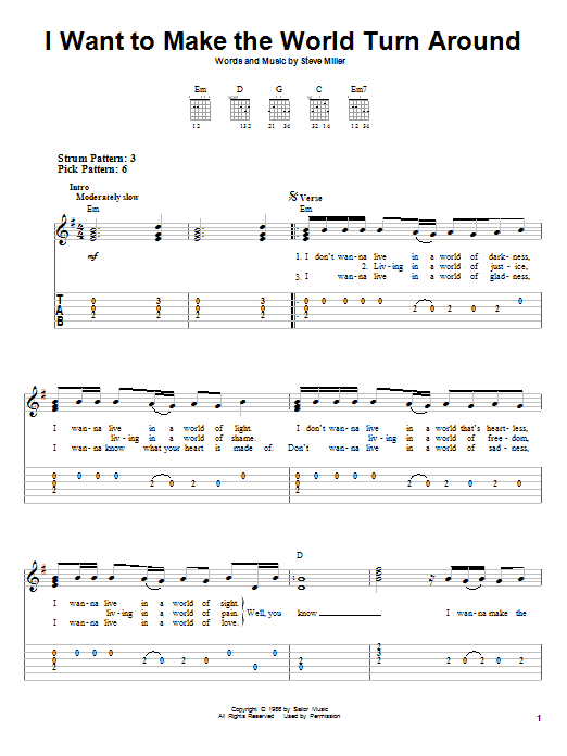 I Want To Make The World Turn Around (Easy Guitar Tab)