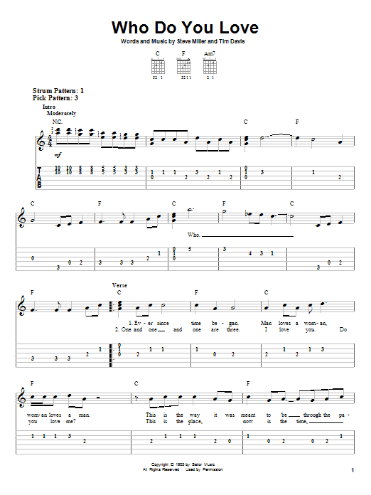Who Do You Love by Steve Miller Band - Easy Guitar Tab - Guitar ...
