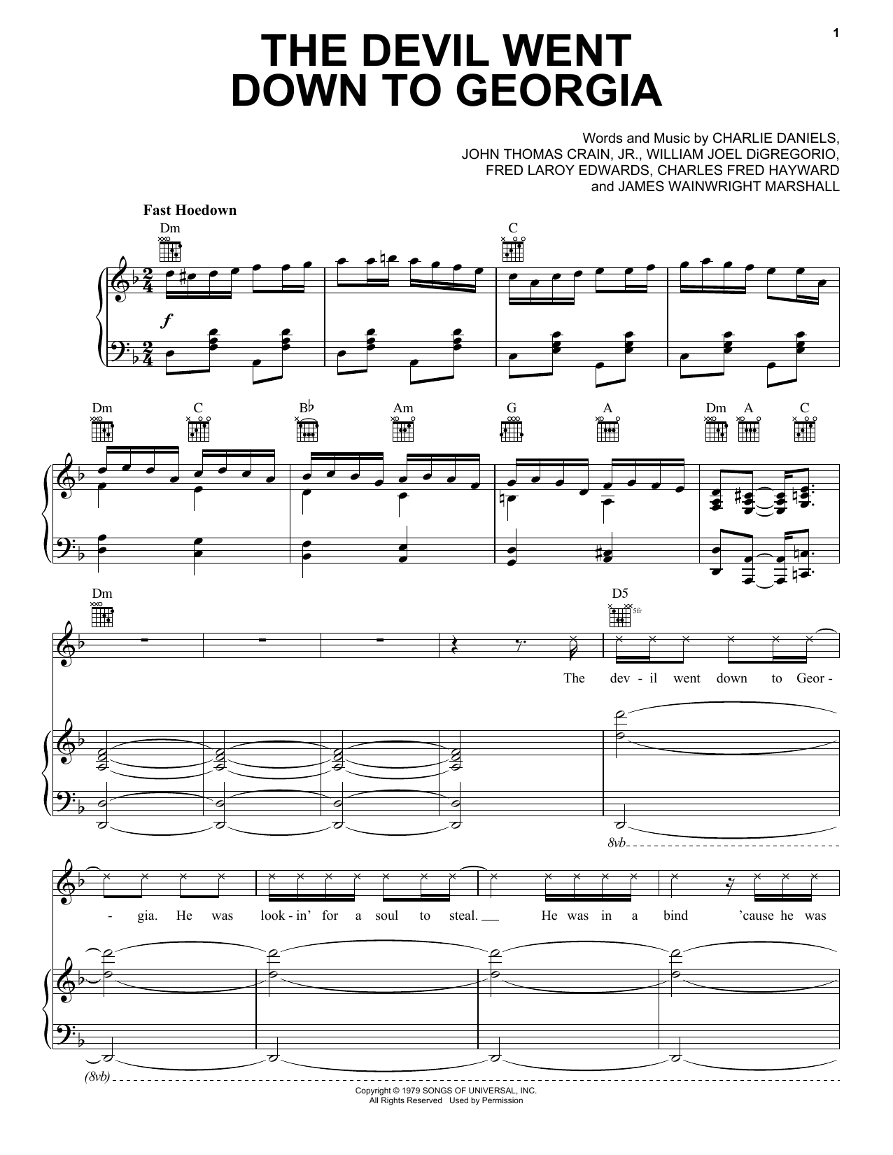 The Devil Went Down To Georgia Sheet Music