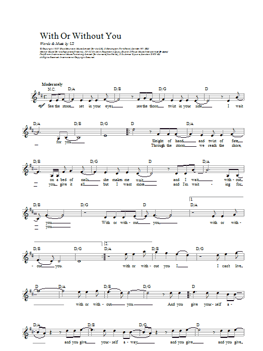 With Or Without You | U2 | Melody Line, Lyrics & Chords