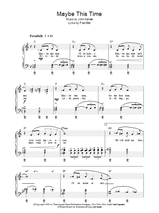 Maybe This Time (from Cabaret) Sheet Music
