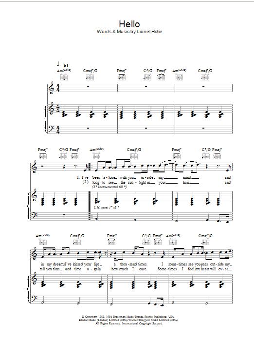 Hello (Piano, Vocal & Guitar)