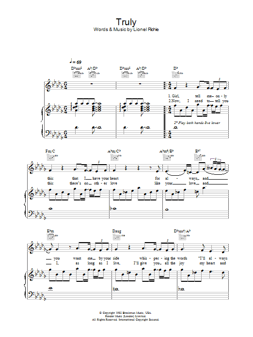 Truly Sheet Music