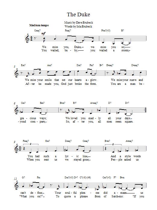 The Duke Sheet Music