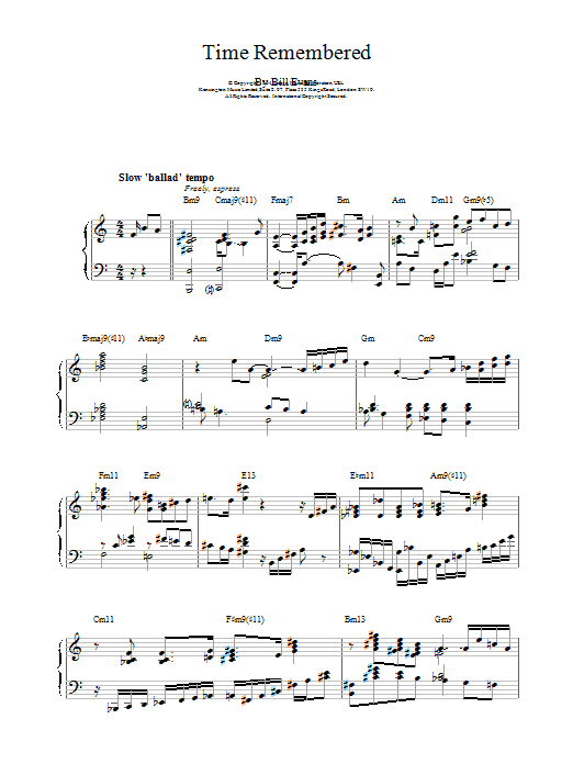 Time Remembered Sheet Music