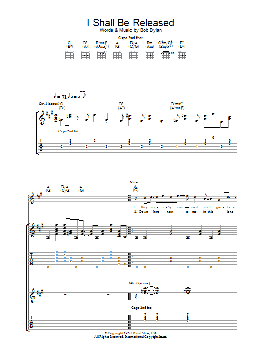 I Shall Be Released Guitar Tab by Bob Dylan (Guitar Tab – 29768)