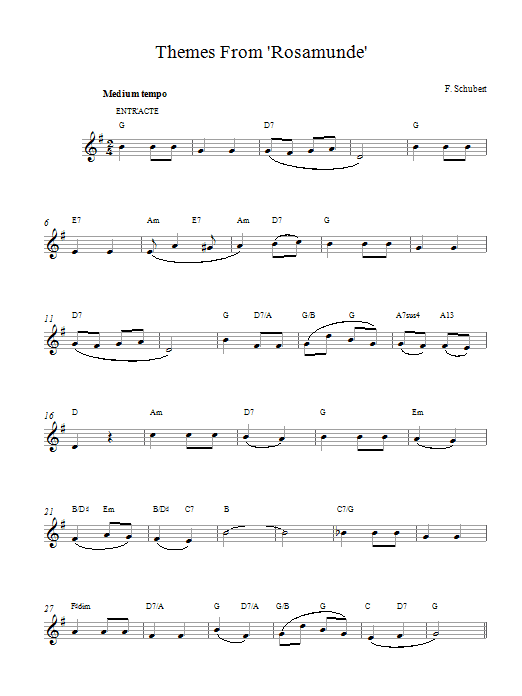 Themes From Rosamunde Sheet Music