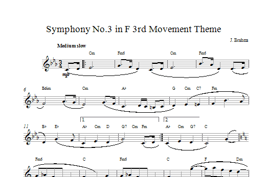 Symphony No 3 In F Sheet Music