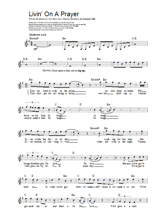 Livin On A Prayer Bon Jovi Melody Line Lyrics Chords