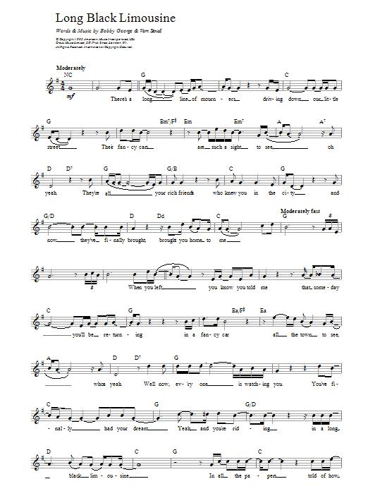 Long Black Limousine Sheet Music