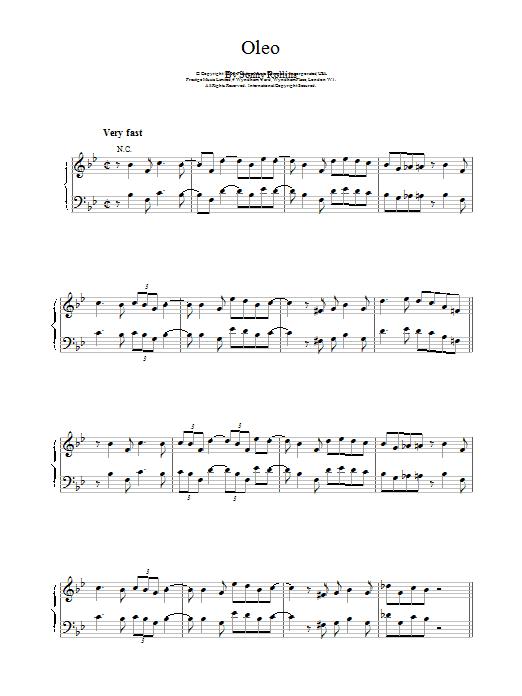 Oleo by Bill Evans Piano Solo Digital Sheet Music