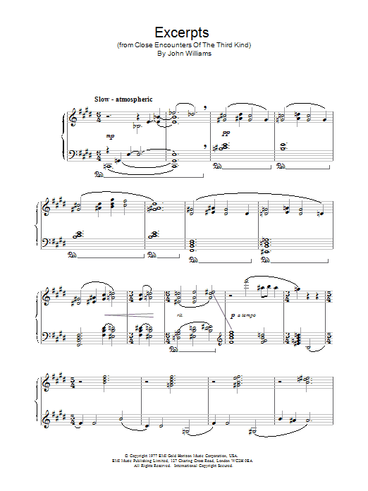 Excerpts from Close Encounters Of The Third Kind Sheet Music