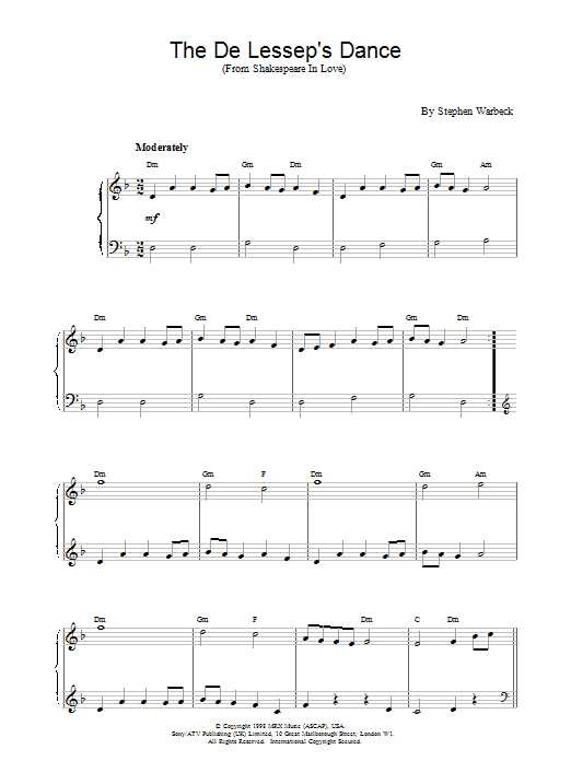 The De Lessep's Dance (from Shakespeare In Love) Sheet Music
