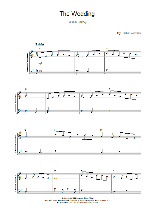 The Wedding (from Emma) Sheet Music