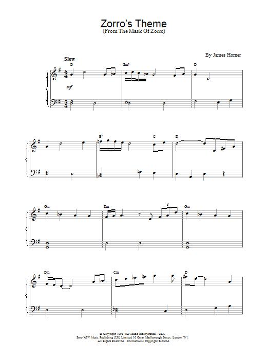 Zorro's Theme (from The Mask Of Zorro) Sheet Music