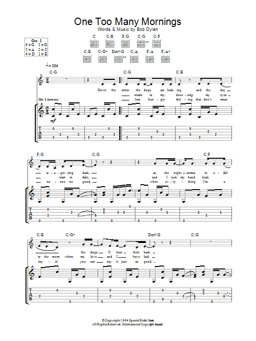 One Too Many Mornings (Guitar Tab)
