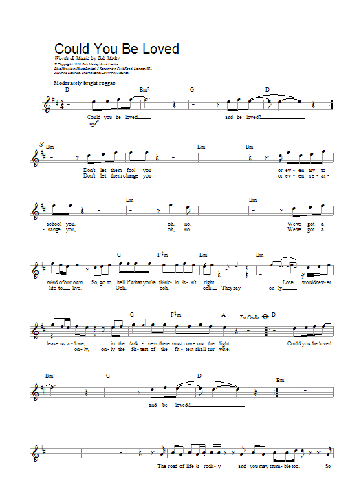 Could You Be Loved Sheet Music