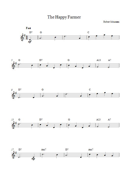 Partition piano The Happy Farmer de Robert Schumann - Lead Sheet