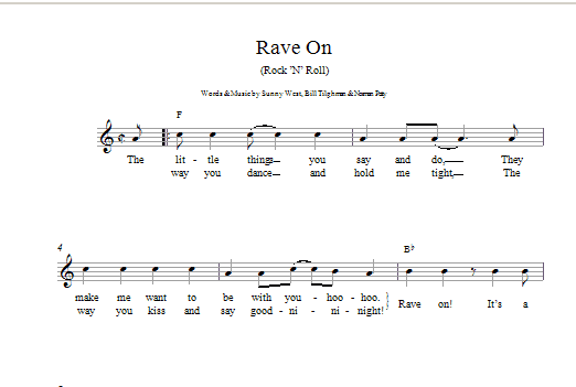 Rave On Sheet Music