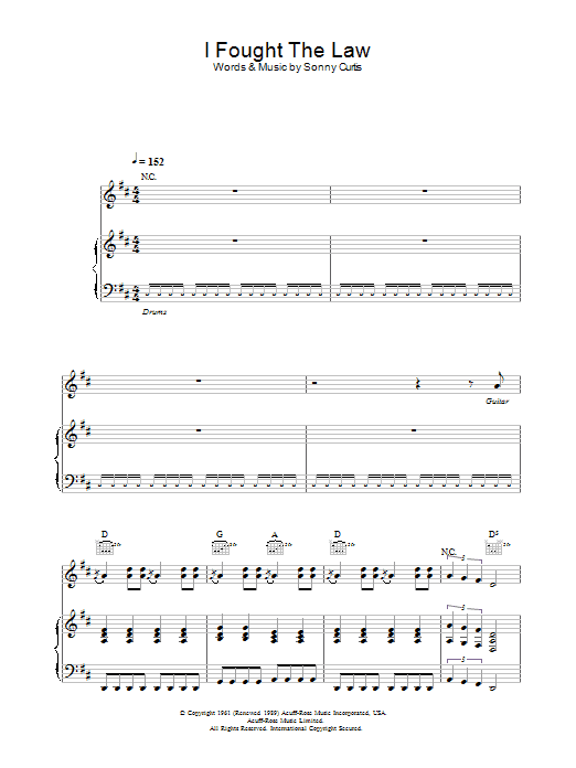 I Fought The Law (from Intermission) Sheet Music