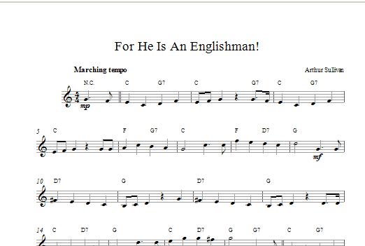 For He Is An Englishman Sheet Music