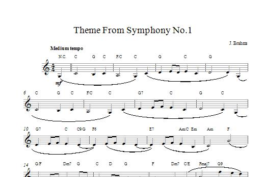 Theme Symphony No1 Sheet Music