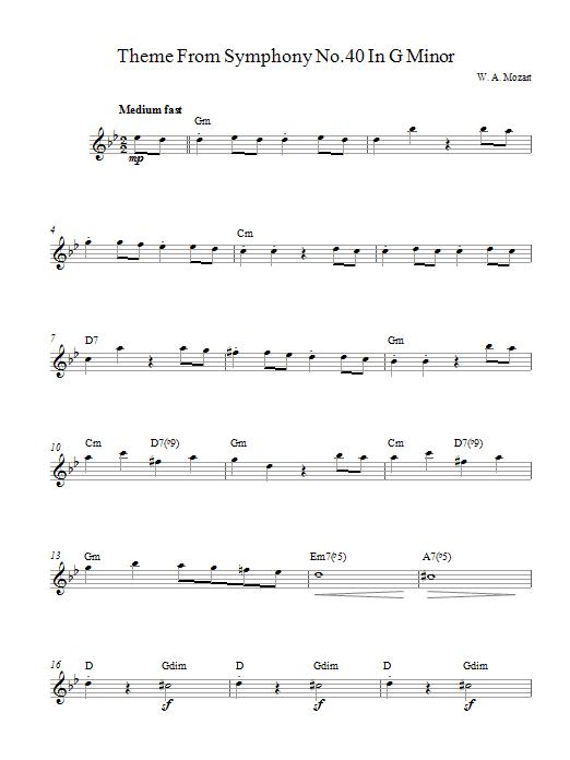 Symphony No. 40 (Theme) Sheet Music
