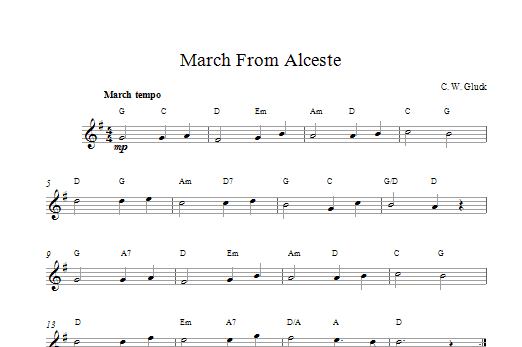 March From Alceste Sheet Music