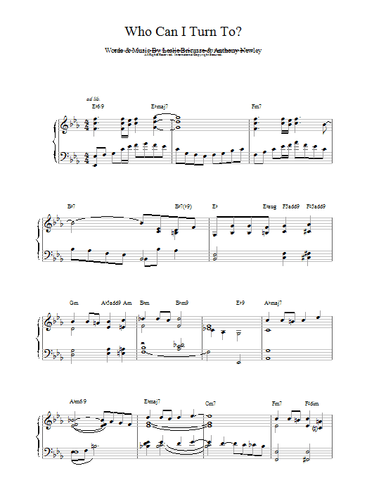 Who Can I Turn To Sheet Music