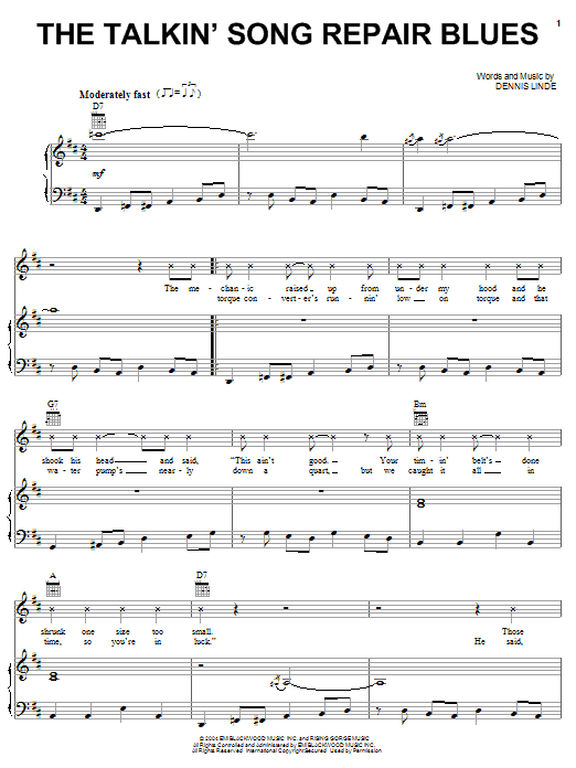 The Talkin' Song Repair Blues Sheet Music