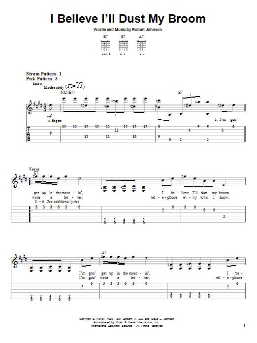 I Believe I'll Dust My Broom (Easy Guitar Tab)