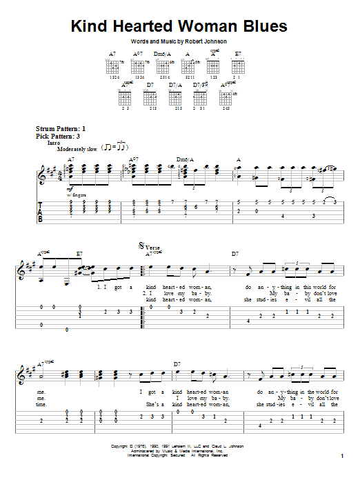 Tablature guitare Kind Hearted Woman Blues de Eric Clapton - Tablature guitare facile