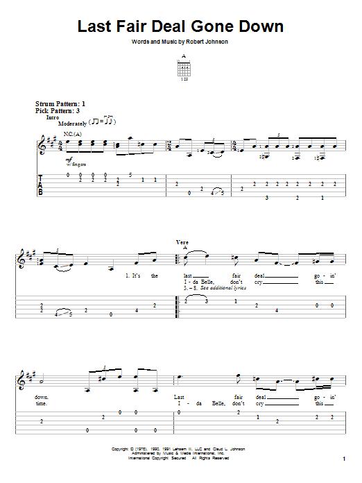 Last Fair Deal Gone Down (Easy Guitar Tab)