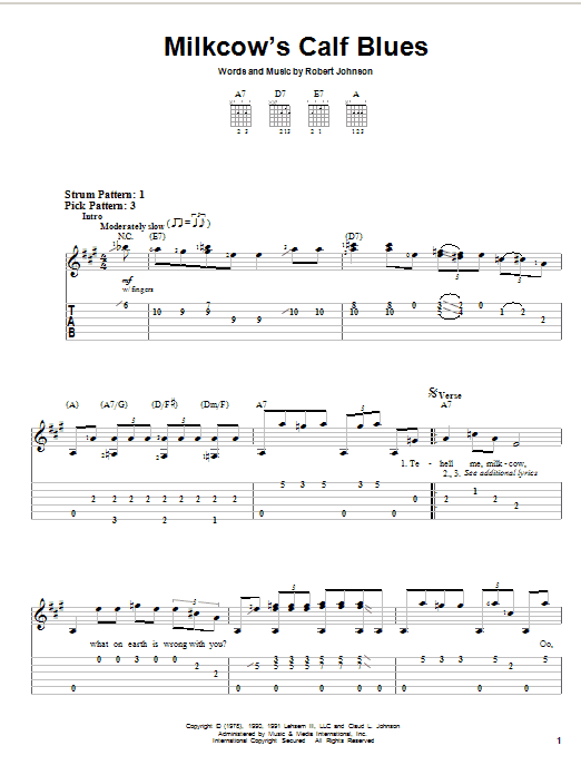 Tablature guitare Milkcow's Calf Blues de Robert Johnson - Tablature guitare facile