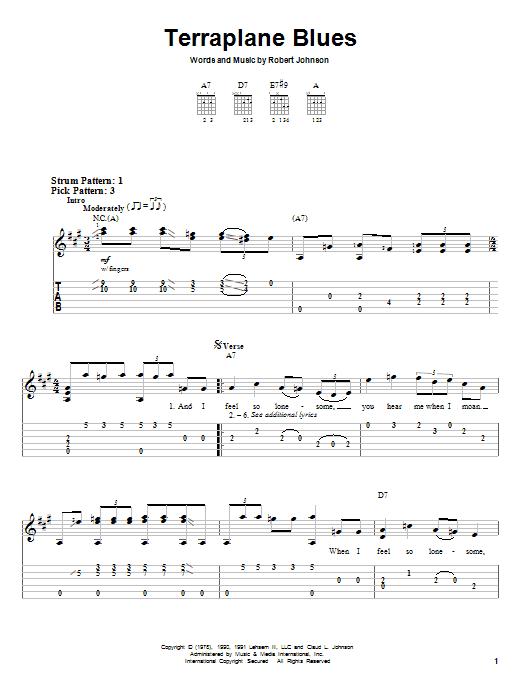 Tablature guitare Terraplane Blues de Robert Johnson - Tablature guitare facile