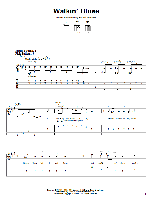 Tablature guitare Walkin' Blues de Robert Johnson - Tablature guitare facile