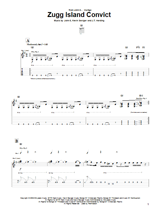 Tablature guitare Zugg Island Convict de John 5 - Tablature Guitare