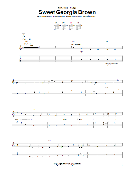 Sweet Georgia Brown (Guitar Tab)