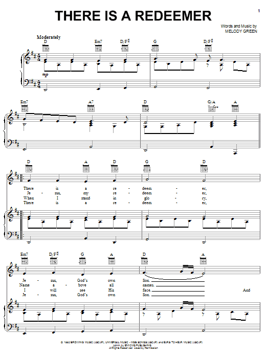 There Is A Redeemer (Piano, Vocal & Guitar (Right-Hand Melody))