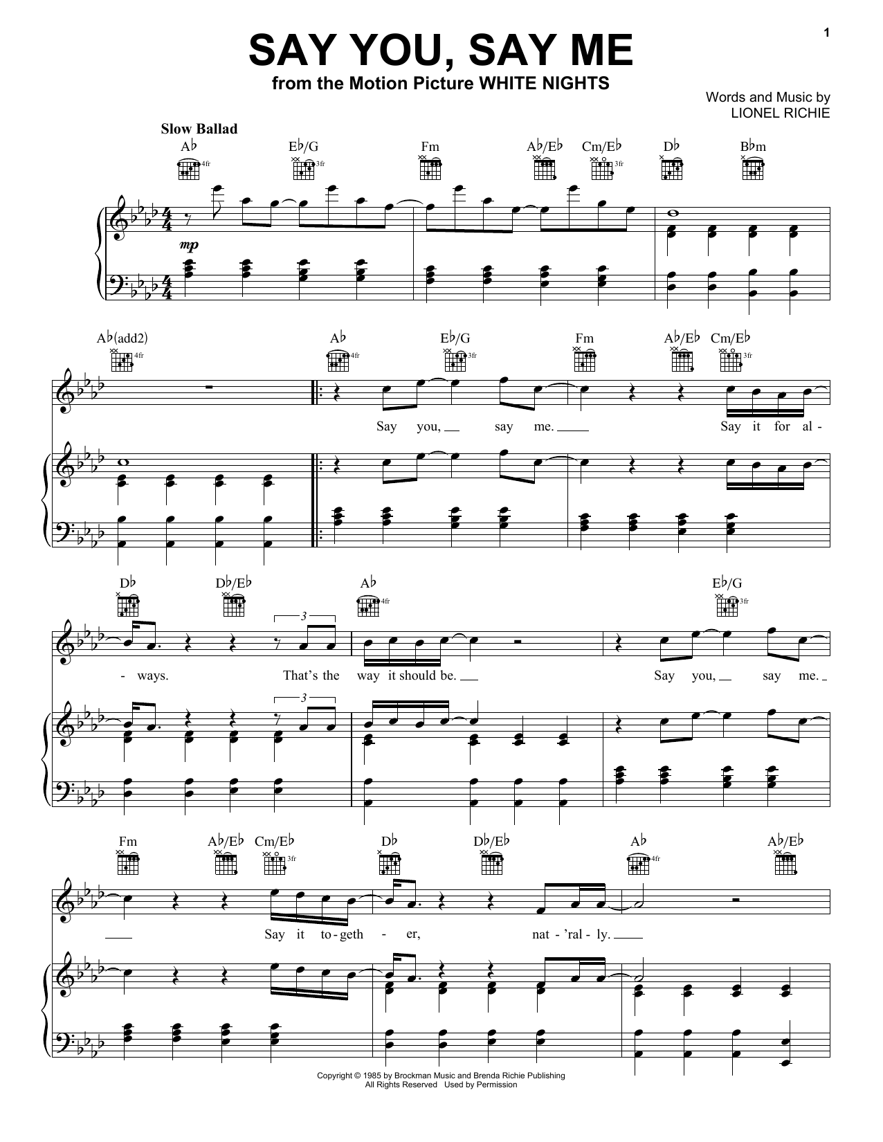 Say You, Say Me (Piano, Vocal & Guitar (Right-Hand Melody))