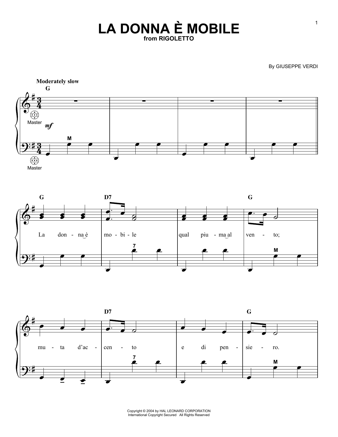 La Donna e Mobile Sheet Music